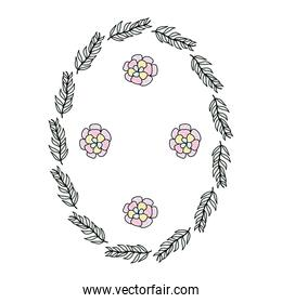 icon circle branches leaves plants with flowers