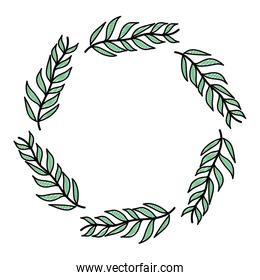 icon circle tropical branches leaves plant