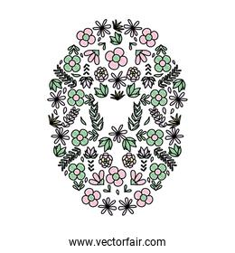 icon exotic flowers plants circle background