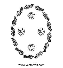 grunge circle branches leaves plants with flowers