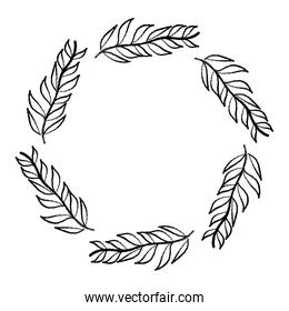 grunge circle tropical branches leaves plant