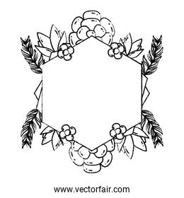 grunge geometric shape with flowers plants and leaves