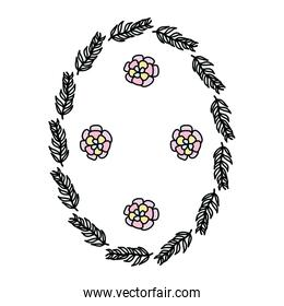 color circle branches leaves plants with flowers