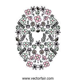 color exotic flowers plants circle background
