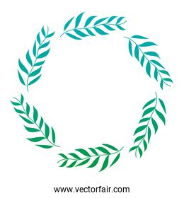 degraded line circle tropical branches leaves plant
