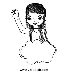 line woman with hand protest up and cloud style