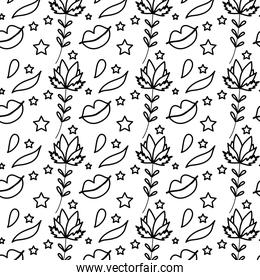 line plants leaves and mouth with stars background