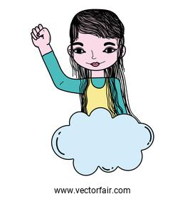 color woman with hand protest up and cloud style