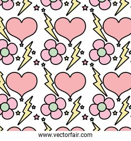 color flower with thunder and heart stars background