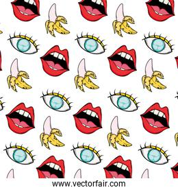 pop art mouth with eye and banana background