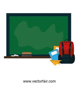blackboard with backpack and notebooks paper