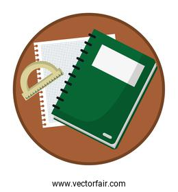 notebook with paper and protractor ruler in table