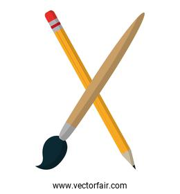 wood pencil and art paintbrush object