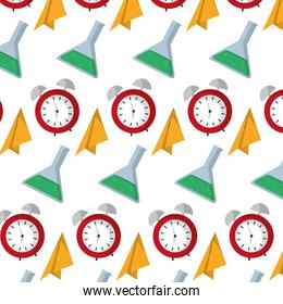 paper plane with clock and erlenmeyer background