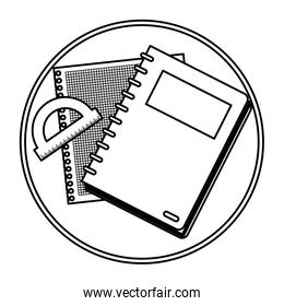line notebook with paper and protractor ruler in table