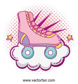 roller skate style with cloud and stars
