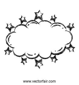 grunge nature fluffy cloud with stars style