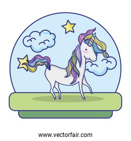 unicorn with hair mane and clouds stars