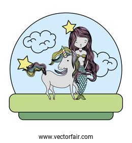 color cute siren standing next to beauty unicorn