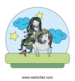 color beauty siren riding cute unicorn with hairstyle