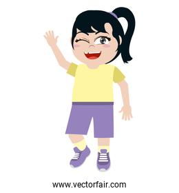 funny girl with hairstyle and sport clothes