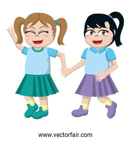 happy girls friends students with hands together