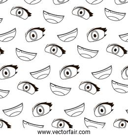 line cute woman eye and mouth background