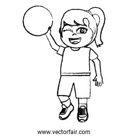 grunge happy girl with ball and sport clothes