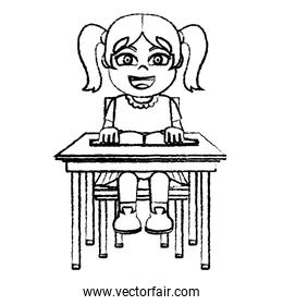 grunge girl sitting school chair with a book