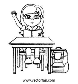 grunge girl sitting school chair and reading book