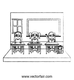 grunge girls students in the classroom sitting school chair