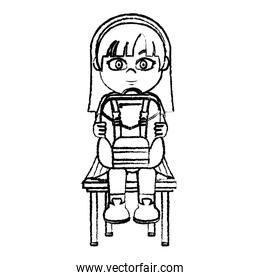 grunge girl sitting chair with backpack utensil