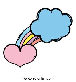 color bright rainbow with nature cloud and heart