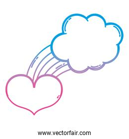 degraded line bright rainbow with nature cloud and heart