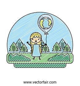 grunge girl with earth planet balloon in the landscape scene