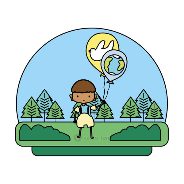 color boy with dove and earth planet balloons in the landscape