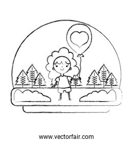 grunge happy girl in the landscape with heart balloon