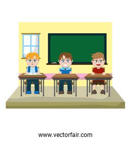 classroom with students sitting school desk