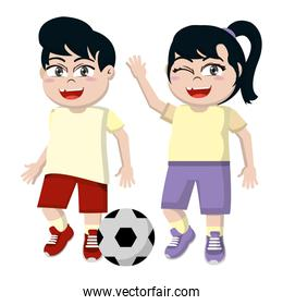 funny girl and boy children with soccer ball