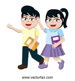nice girl and boy children with book utensil