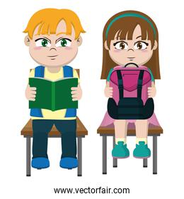 boy and gril sitting chair with utensils