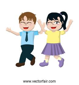happy boy and girl with hairstyle and clothes