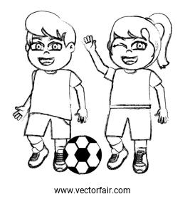 grunge funny girl and boy children with soccer ball