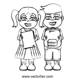 grunge girl and boy with book and backpack utensils