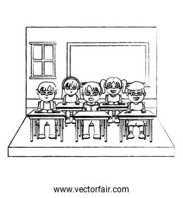 grunge nice students children in the blackboard and classroom