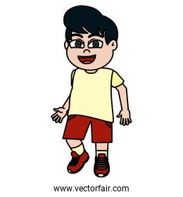 color boy child with hairstyle and sport clothes