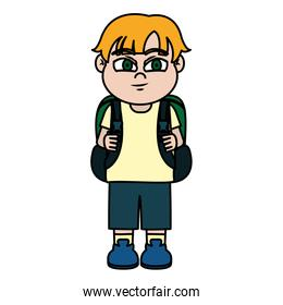 color nice boy child with backpack and clothes