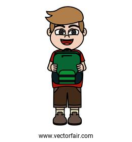 color boy child with backpack utensil in the hand