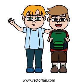 color nice boys children friends with backpack