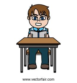 color boy sitting school desk and reading a book